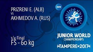 1/4 FS - 60 kg: A. AKHMEDOV (RUS) df. E. PRIZRENI (ALB) by VPO1, 7-1