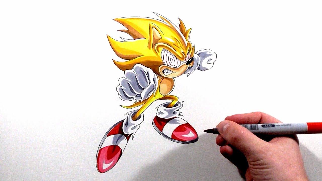 Drawing Fleetway Super Sonic - YouTube