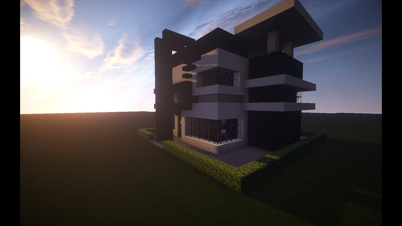Simple and easy to do minecraft modern house black and white youtube