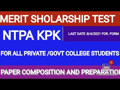 NOBEL TESTING &PROCESSING AGENCY MERIT SCHOLARSHIP FOR INTERMEDIATE STUDENTS KP-2021