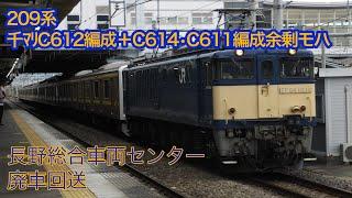 松本駅にて。4/28 209系C618編成廃車回送