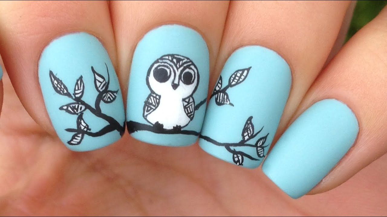 Nail Art Tutorial Cute Tribal Owl Youtube