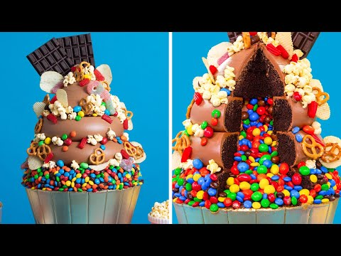 M&Ms Explosion! Giant 25 Pound Cupcake | Sweet & Salty Cakes | How To Cake It Step By Step