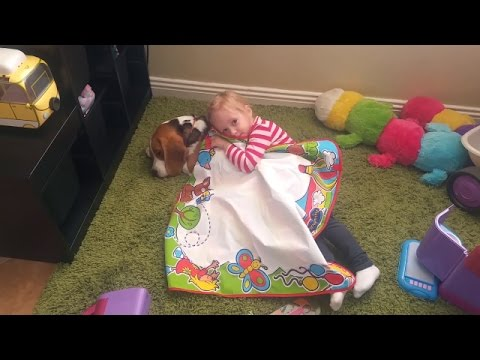 Baby want to sleep with her puppy ( Charlie the dog)
