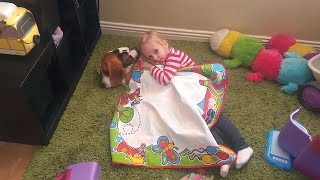 Repeat youtube video Baby want to sleep with her puppy ( Charlie the dog)