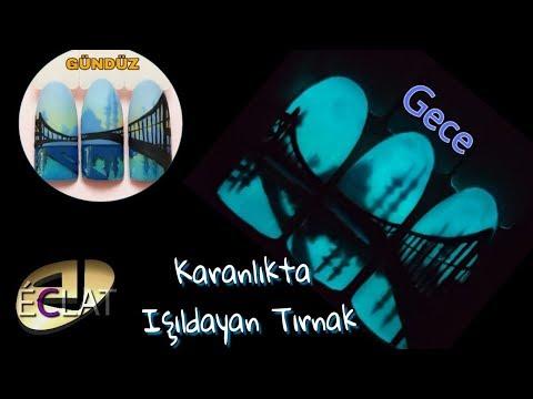 Kalıcı Oje Uygulaması/Karanlıkta Yanan Kalıcı Oje ile İstanbul Boğaz Köprü Çizımı