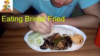 Asmr Eating (indian food) Brinjal fried and mashed potato with plain Rice/ASMR-Eating Show