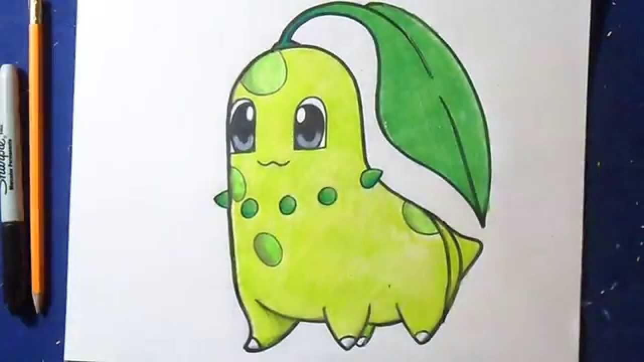 Desenhando Colorindo Pokemon Chikorita Youtube