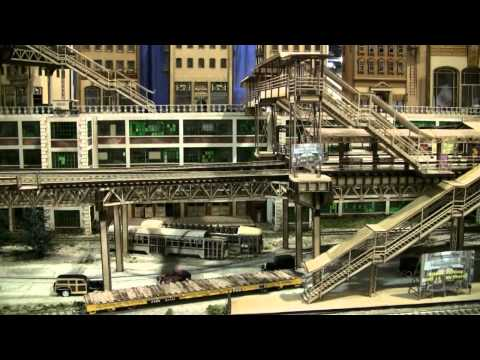 classic city elevated train tracks scenery and buildings model trains 2010