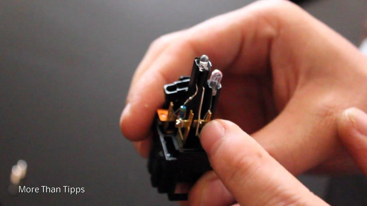 TUT] VW Golf 3 Scheibenheizungsschalter Beleuchtung Umbau - YouTube