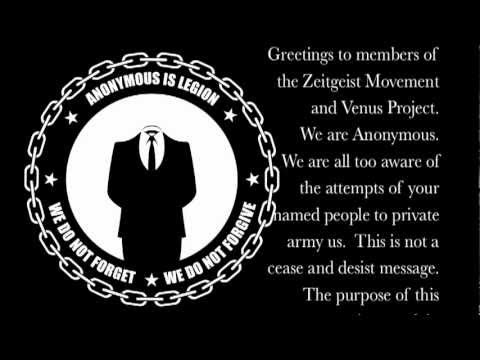 Anonymous Message to The Zeitgeist Movement and The Venus Project