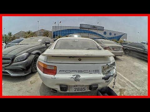 Abandoned old sport car Porsche 928 S4 in Dubai. UAE old car find