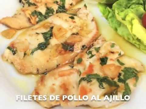 receta de filetes de pollo al ajillo divina cocina youtube - Divina Cocina