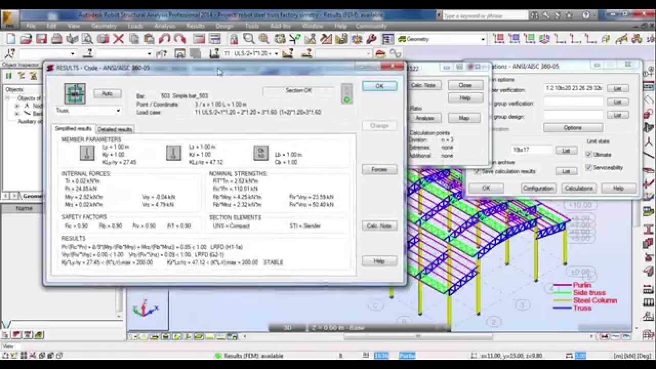 Autodesk Robot Structural Analysis-Design of Steel Truss Factory Structure  03/03