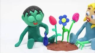 Flower garden 💕Superhero Play Doh Stop motion cartoons