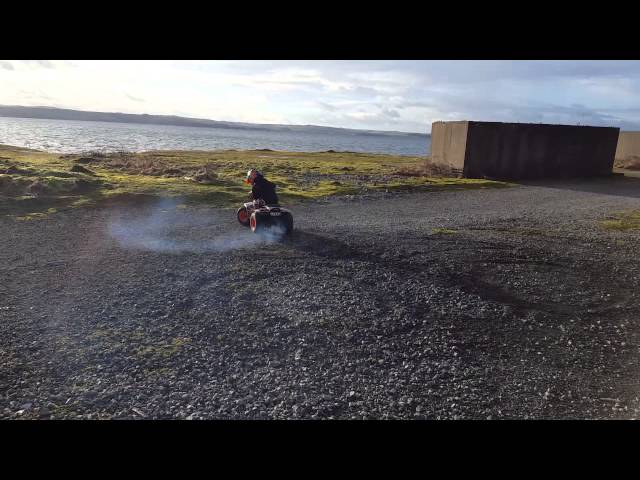 4year old doing doughnuts on a quad bike