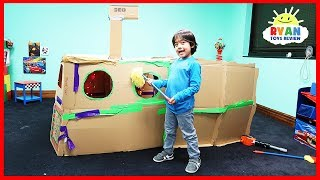 Giant Box Fort Submarine Challenge with Ryan and Gus