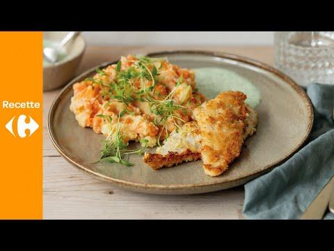 purée-de-carottes,-bâtonnets-de-plie-panée-et-sauce-cressonnette