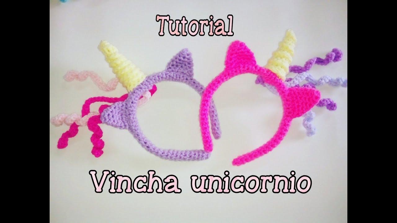 Vincha, diadema o tiara de unicornio a crochet 1/2 - YouTube