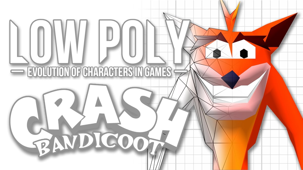 Character Design Crash Course : Crash bandicoot low poly evolution of characters in