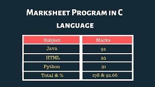 Marksheet program in C language