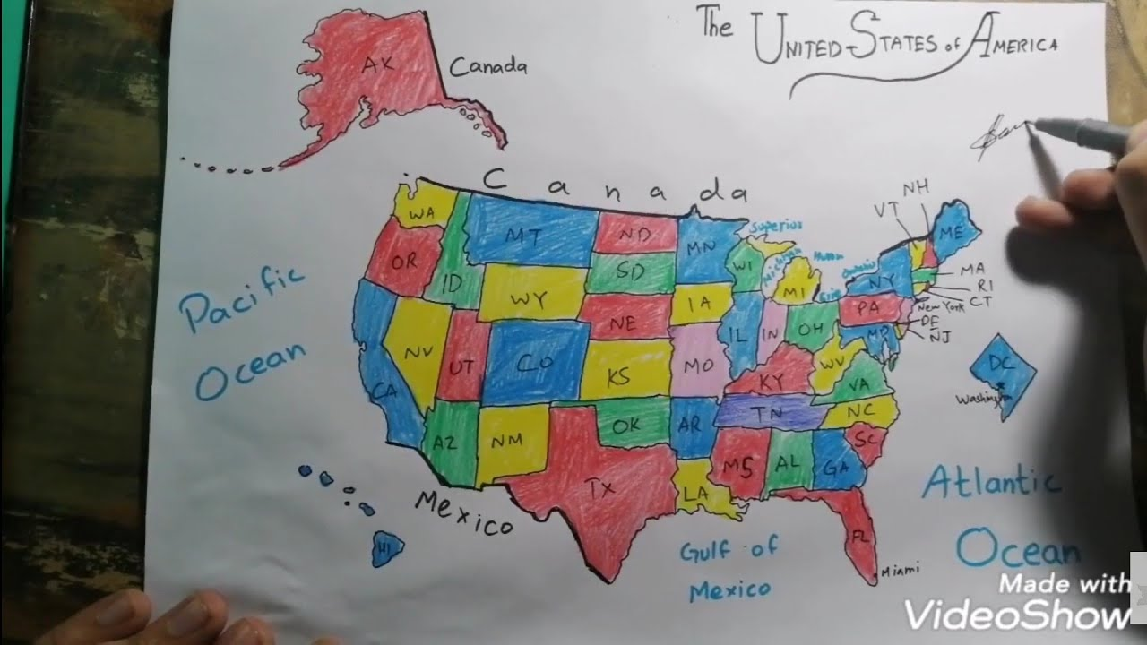 How To Draw United States Map Easy Step By Step Youtube