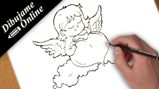 como dibujar un corazon con un cupido