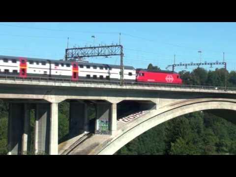 Trains outside Bern Railway Station, Switzerland