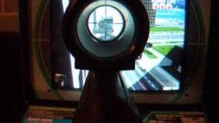 Silent Scope Sniper Rifle Shooting Arcade Machine in Play