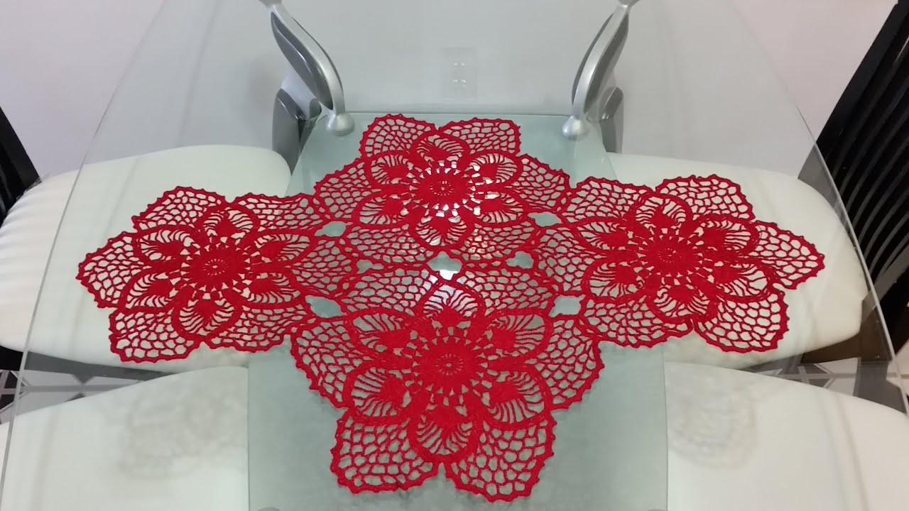 Flor para camino de mesa en crochet 5 youtube - Camino de mesa elegante en crochet ...