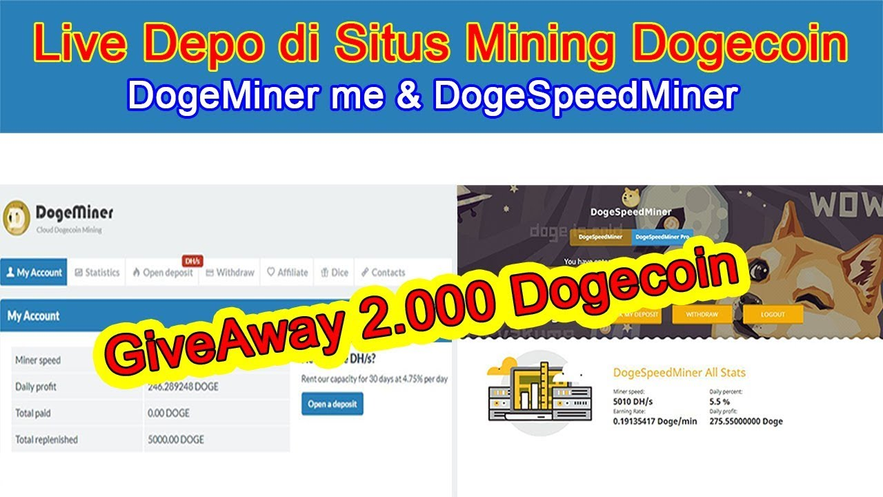 Live Depo di Situs Mining Dogecoin & GiveAway 2.000 Doge