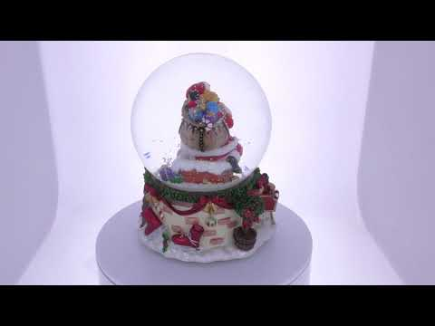 Santa on the Chimney with Dogs & Snowman Musical Snow Globe