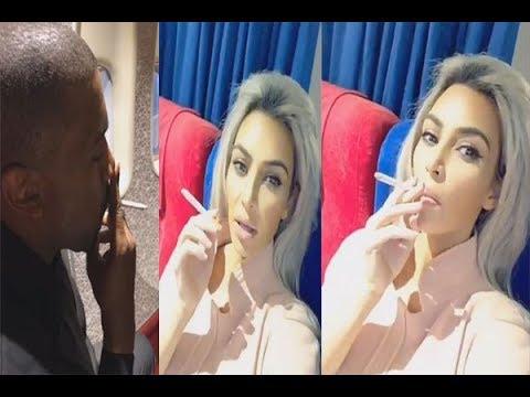 Kim Kardashian & Kanye West Smoking on a Plane