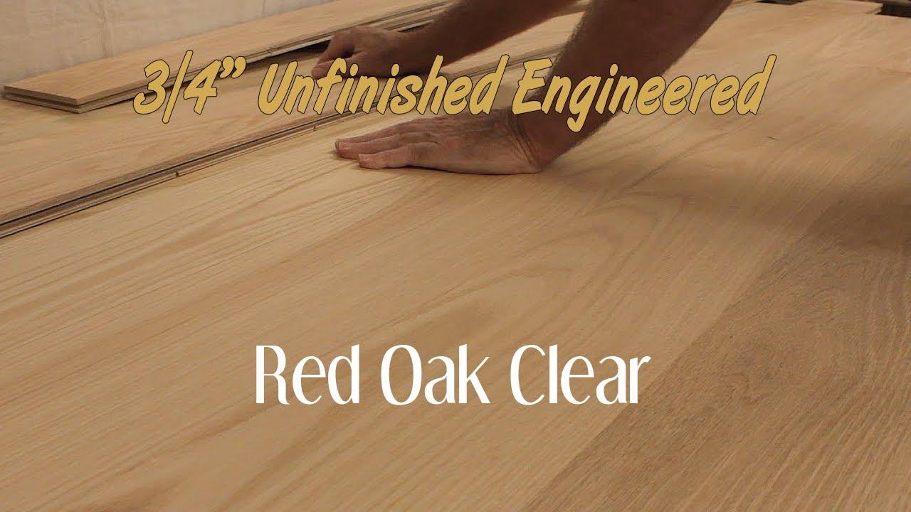 Unfinished Engineered Red Oak Clear Hardwood Flooring