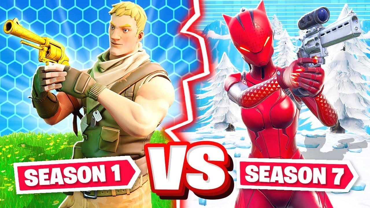 SEASON 1 vs SEASON 7 CHALLENGE *NEW* Game Mode in Fortnite ...