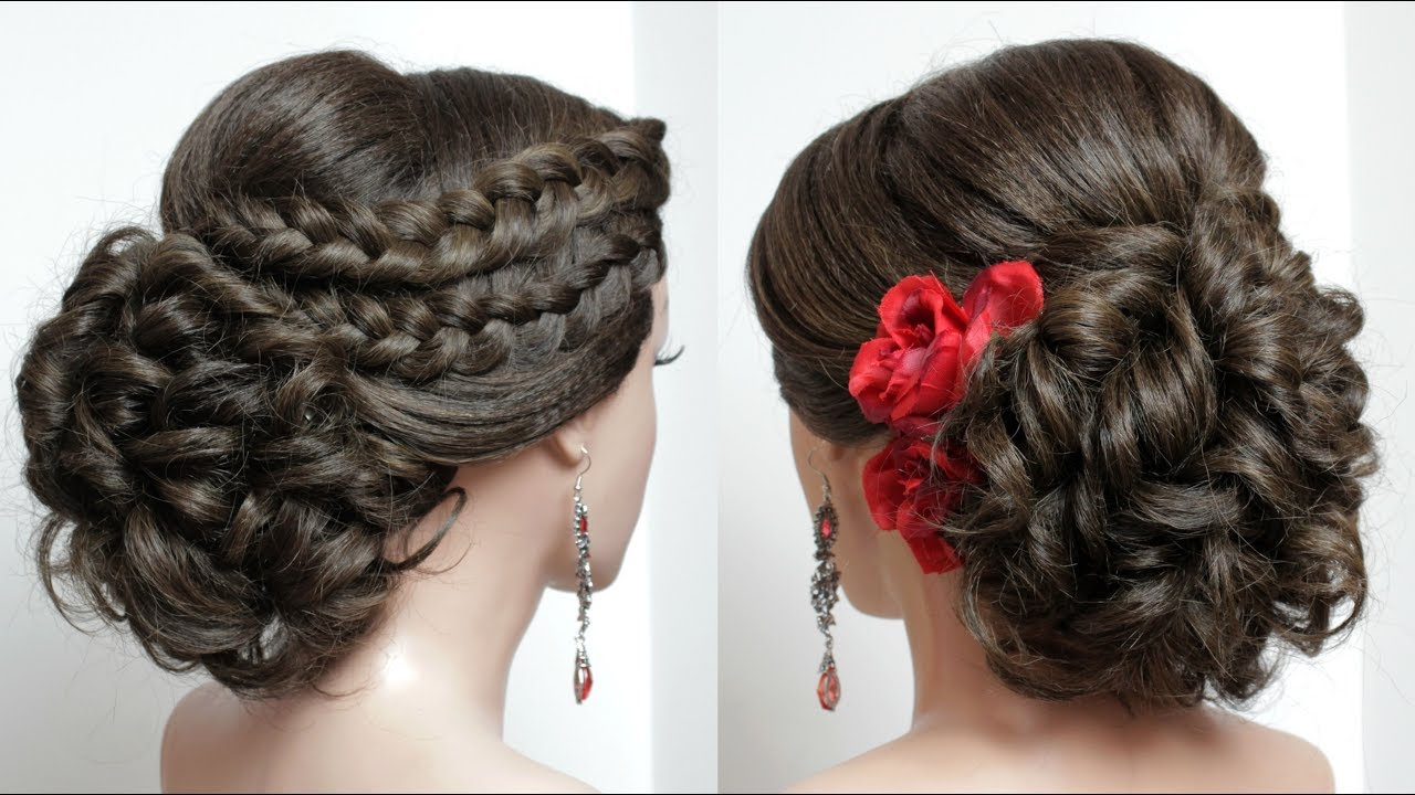 bridal hairstyle for long hair tutorial. wedding updo with french braids.