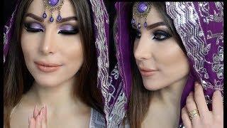 فتاة عراقية تضع المكياج الهندي لأول مرة + طريقة لبس الساري/ Change an Iraqi woman to an Indian one
