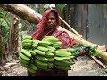 Village Food | Green banana curry | Grandmother recipes-62