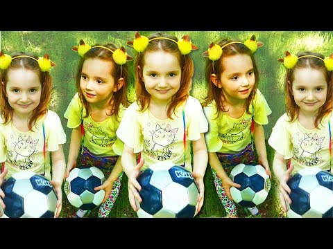 Five Little Babies Jumping on the Bed /Kids Song with Soccer balls