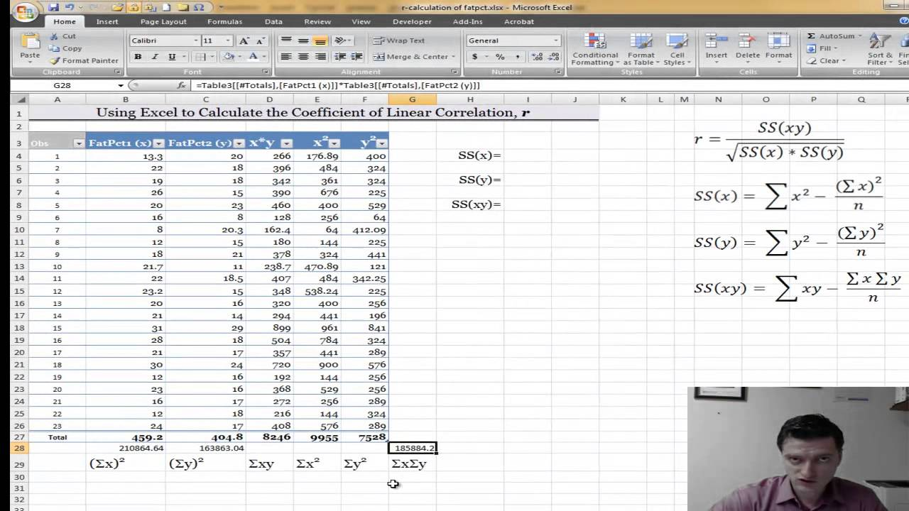 Statistics: Using Excel to find the Correlation Coefficient r ...