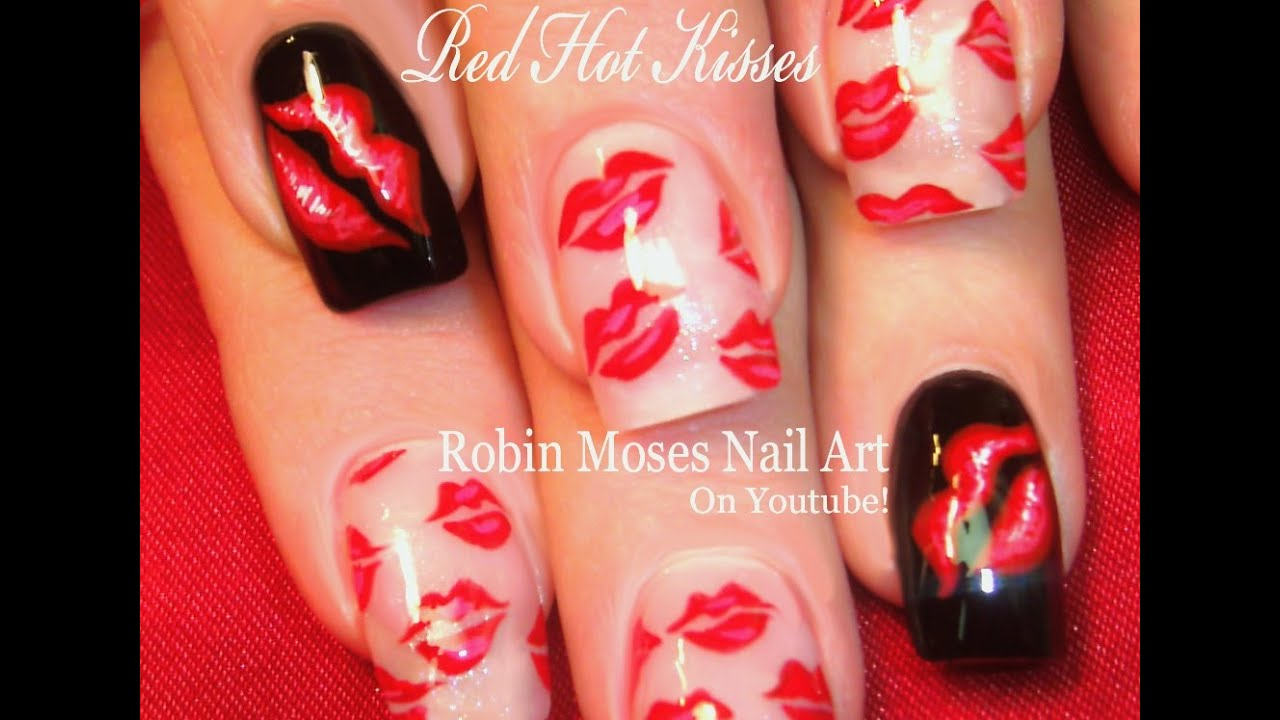 Red Hot Lips Nail Art Design | Sexy French Kiss Nails ...