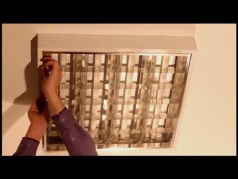 Встраиваемые растровые светильники 4х18 под армстронг