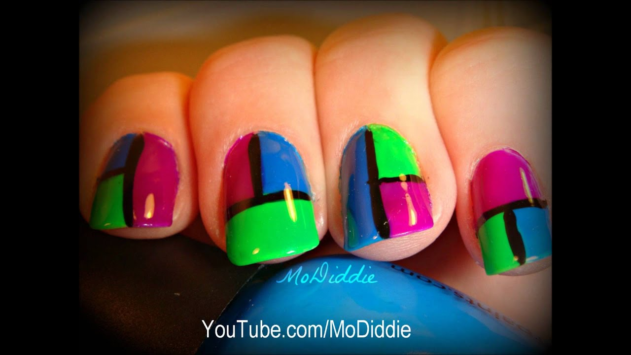 NEON COLOR BLOCKING NAILS! - YouTube