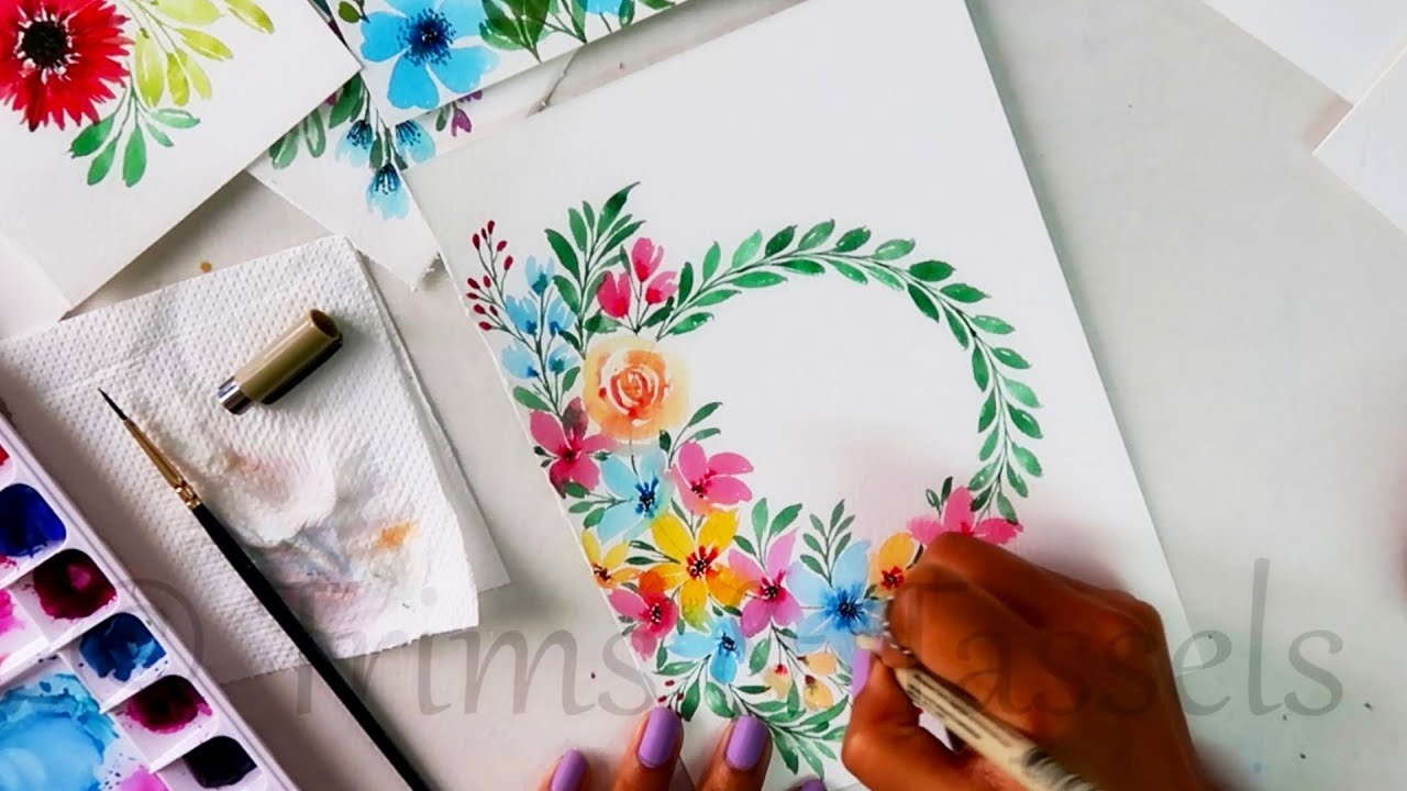 Watercolor Floral Composition Easy Creative Painting Ideas Art Craft Youtube