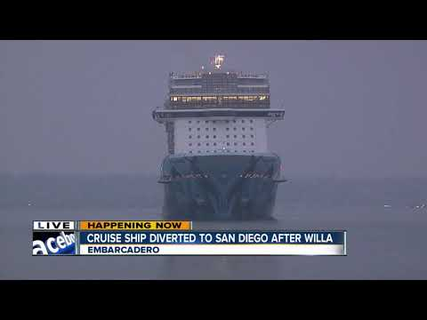Large cruise ship arrives in San Diego after being diverted