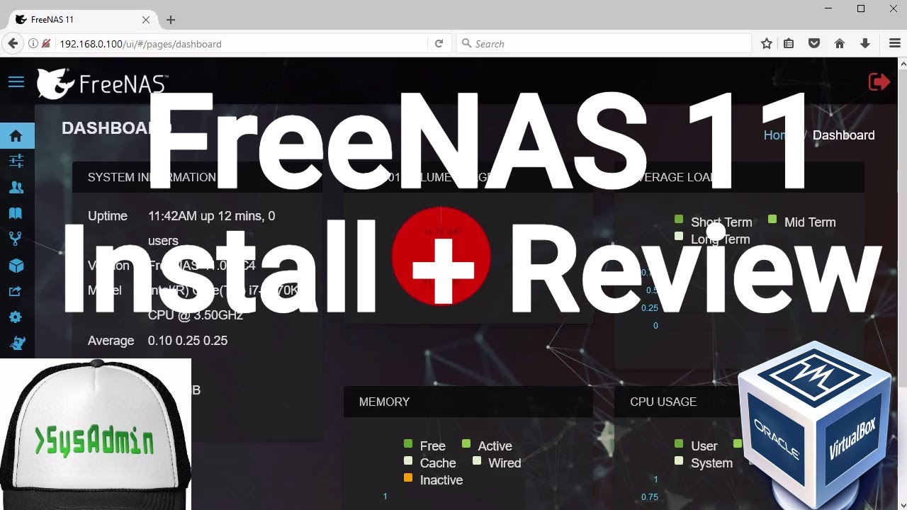 FreeNAS 11 Storage Installation + Configuration + Overview on Oracle  VirtualBox [2017]