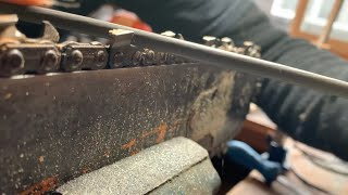 RAZOR SHARP CHAIN! How I use a round file to sharpen a chainsaw to get the saw treeson sharp!