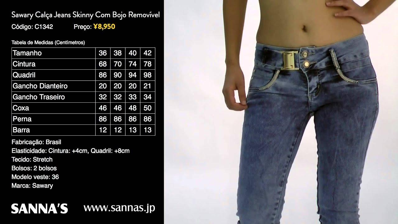 344960088 SANNA'S | Sawary Calça Jeans Skinny com Bojo Removível C1342 - YouTube