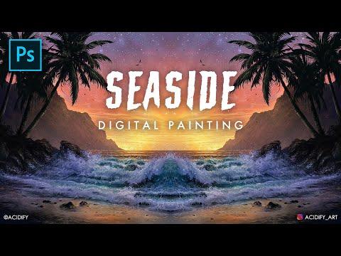 Realistic Beach Wave Concept Art / Palm Tree Digital Painting Photoshop Timelapse / Symmetry Art