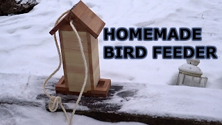 How to make a simple bird feeder out of wood. Birds not included.